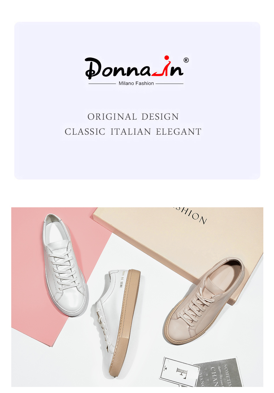 Donna-in Sneakers Women Genuine Leather Flat Low Heel Platform Ladies Lace Up Fashion Breathable Shoes Women 2018 White Nude (4)