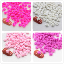 100pcs 6mm Cute Exquisite Little Resin Rose Flowers Flatback Cabochon DIY Nail Art Decoration(China)