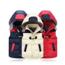 2017 Autumn Winter Kids Waistcoats Hooded Children Vest Warm Think Polar Fleece Baby Boys Girls Coat Cotton Infant Outerwear(China)