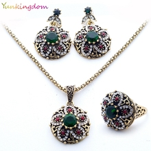 New Brand Unique Jewelry Sets India Women's Necklace Vintage Flowers Earrings Resin Stones Rings wholesale / retail YUN0509(China)