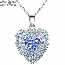 2018 floating heart necklace Wholesales brand Fashion women white gold plate Import Czech Rhinestones Pendant Jewelry 80133(China)