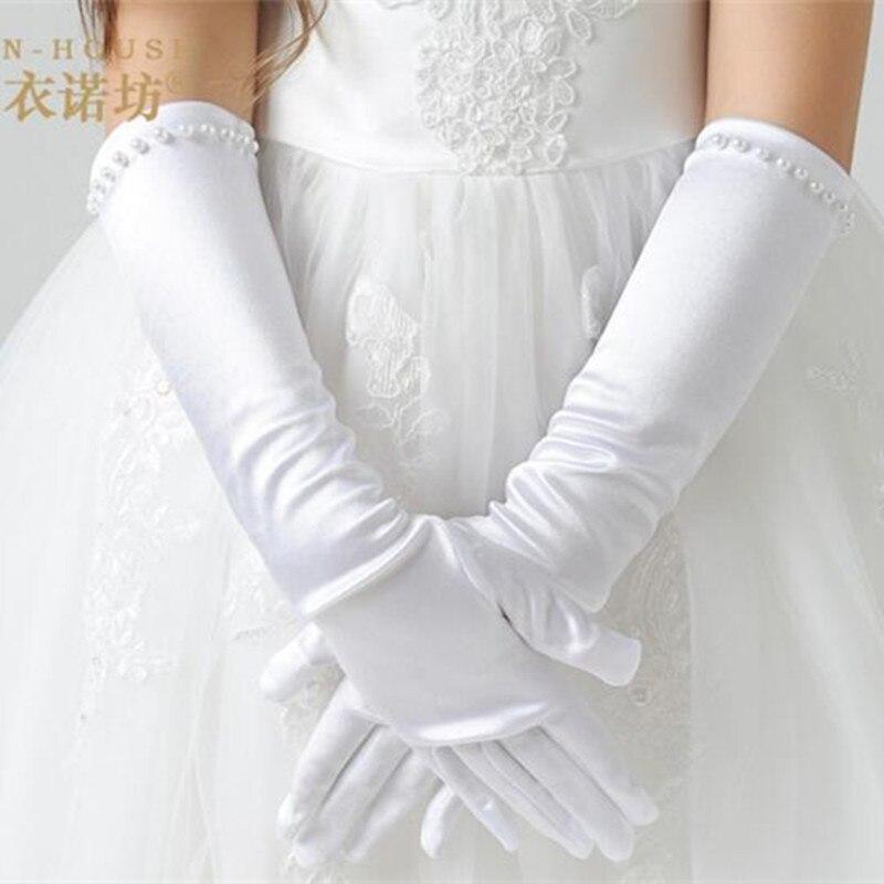 New Retail Fashion Kids White Stretch Satin Long Finger Gloves for Flower Girl Children Party Dress Beading Gloves Girls Wedding<br><br>Aliexpress