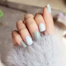 24pcs Light Blue Line Fake Nail Art Decoration Striated Short Square White Head Full Cover False Nails Tips with Glue Sticker