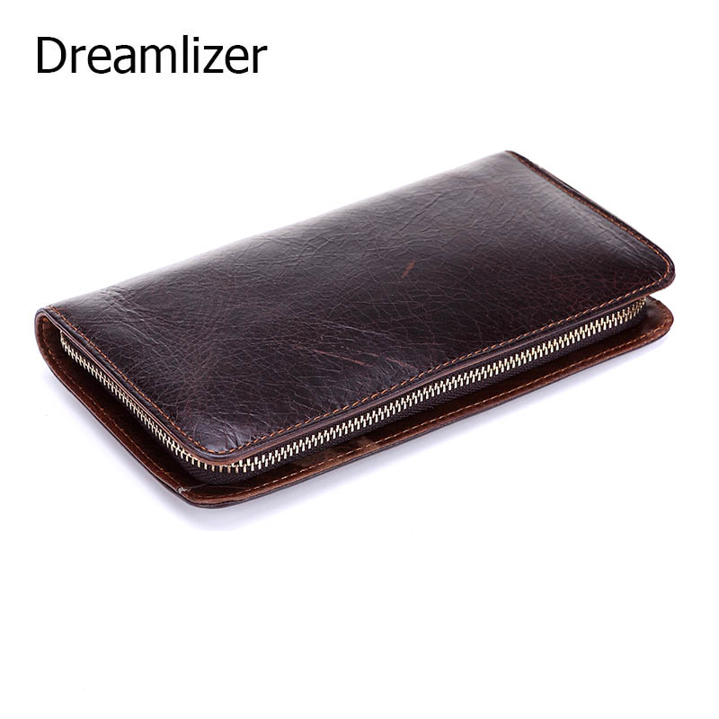 Dreamlizer 2017 Brand Designer Top Cowhide Leather Mens Long Wallet Clutch Wrist Bag Brown Wallets and Purses Male Card Holder<br><br>Aliexpress