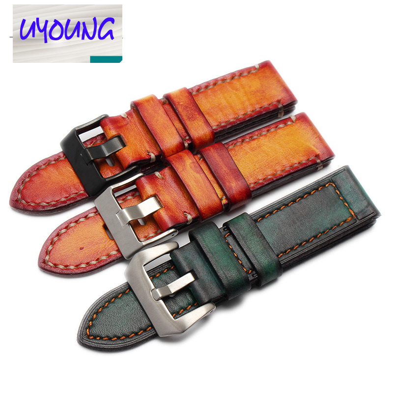 Rough, thick, handmade handmade watch strap, tree cream leather watch, with 22/24/26mm men and women watches<br>