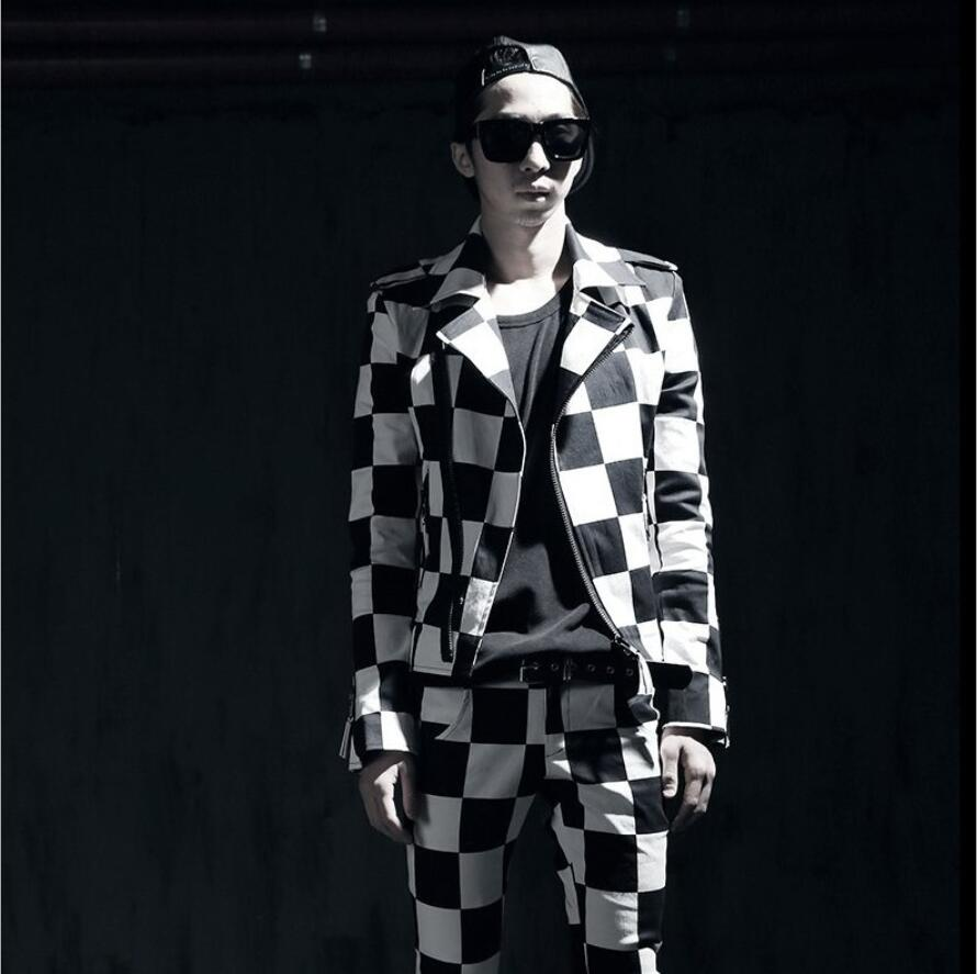 2018 New Autumn Mens motorcycle personality jacket long-sleeve Black and white lattices slim outerwear jacket singer costumes