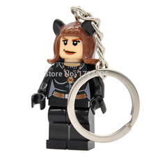 XH132 DC Catwoman Figure Keychain For Superhero Keys Custom Ring DIY Cat Woman Chain Building Block Toys
