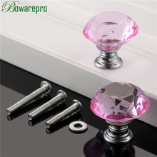 bowarepro Diamond Crystal Glass furniture handle kitchen cabinet accessories hardware handle accessory 30mm 2pc+6Pcs Screws Pink