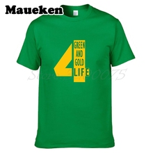 Men Green And Gold Life Brett Favre #4 Hall of Fame Green bay T-shirt Clothes T Shirt Men's for fans gift tee W0525002(China)