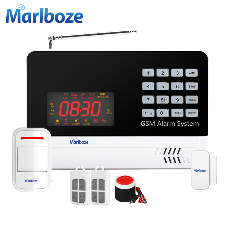 Marlboze IOS Android APP Wireless Wired Home Security GSM Alarm System Pir Motion Detect Door Sensor Voice Burglar Alarm Kit <br>
