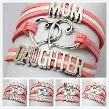 Fashion Silver Family Heart of Love Mother Father Son Daughter Pink Velvet Braid Wrap Wrist Bangle Multi Layers Bracelet