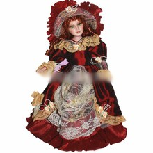 Red dress ceramic dolls 40cm retro porcelain doll Exquisite fashion, European, Victorian style, porcelain doll simulation doll