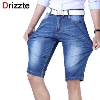 Drizzte marca mens leve estiramento denim shorts jeans curto azul plus size jeans para homens dos homens do verão calças curtas calças