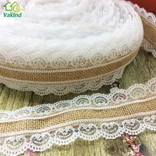 10M/Roll Natural Jute Burlap Hessian Lace Ribbon Roll White Lace Trim Edge Vintage Wedding Decoration Christmas Party Craft(China)