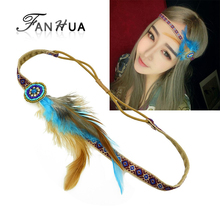 Summer Bohemian Style Black Elastic Ribbon With Colorful Feather Designer Ethnic Headbands Hair Jewelry Hairwear For Women