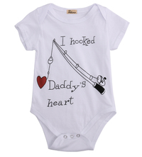 2017 Newborn Baby Boy Girl Clothes Hooked Daddy's Heart Babygrows Playsuit Rompers