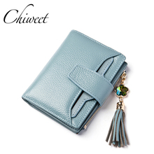 Brand 2017 Cow Genuine Leather Women Wallets Tassel Diamond Lettice Ladies Short Wallet Female Money Clip Three Fold Mini Purse(China)
