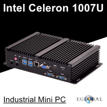 Fanless Industiral Mini PC Linux Windows All Aluminum Rugged Computer Celeron 1007U 1.5GHz Dual Core 1*Lans 2*RS232 COM HDMI+VGA