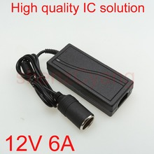 50pcs High quality 12V 6A Car cigarette lighter Power AC Converter / adapter for Air pump /Vacuum cleaner DC 12V 6A Power supply(China)