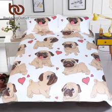 BeddingOutlet Hippie Pug Bedding Set Queen Size Animal Cartoon Bed Set for Kids Cute Bulldog Print Duvet Cover Home Bedclothes(China)