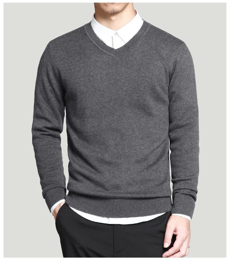 Merino Wool Sweater Pullovers Men V Neck Long Sweater Jumpers Luxury Winter Warm Mercerizing Fleece Male knitwear Autumn Spring-04