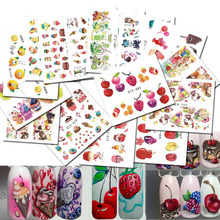 18 Sheets Mixed Water Decals Nail Art Water Transfer Stickers Fruit/Ice Cream/Cake Nail Tips Stickers Beauty Decor LASTZ471-488