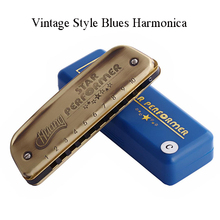 Vintage Style Blues Harmonica Golden 10 Holes C Key Mouth Organ Wind Musical Instrument Kids Beginners Adults Gifts