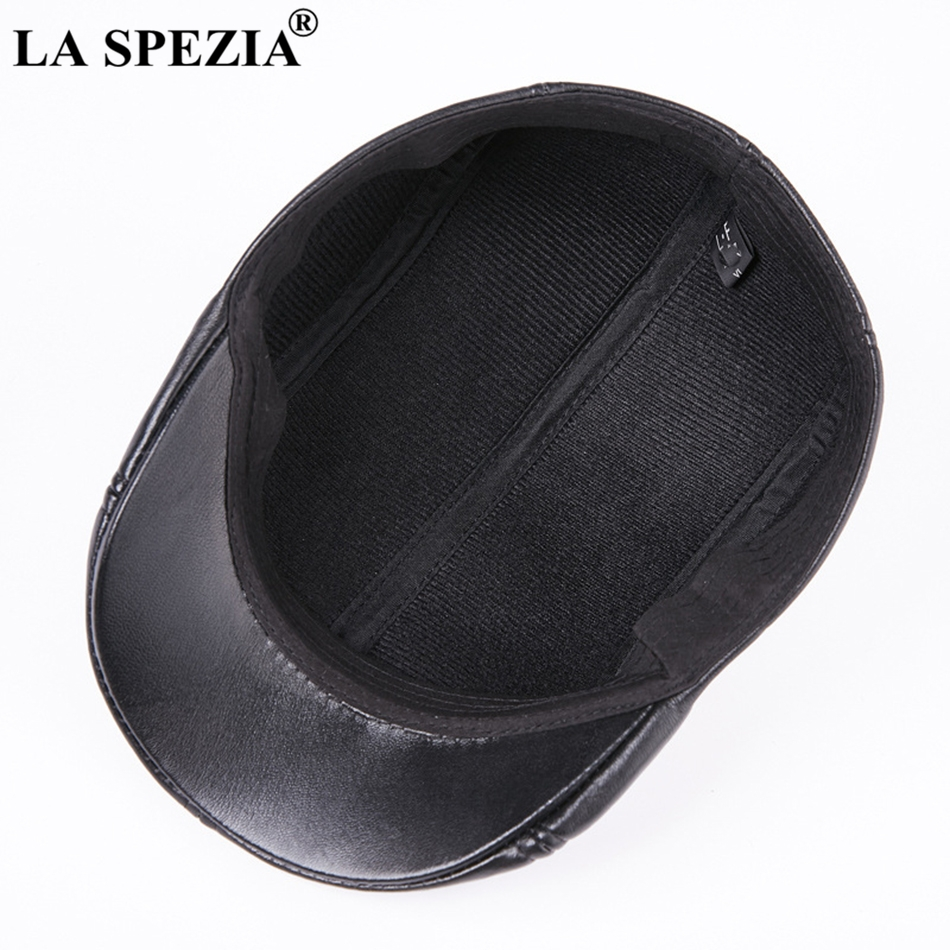 Características  boinas de cuero para hombres gorros planos negros de pico  de pato sombreros planos de lujo de marca italiana c1558674e19