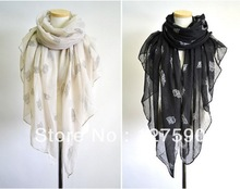 Newly Fashion Owl Scarf Europe Style Voile Lady Showls Oversize 180cm*110cm Cotton