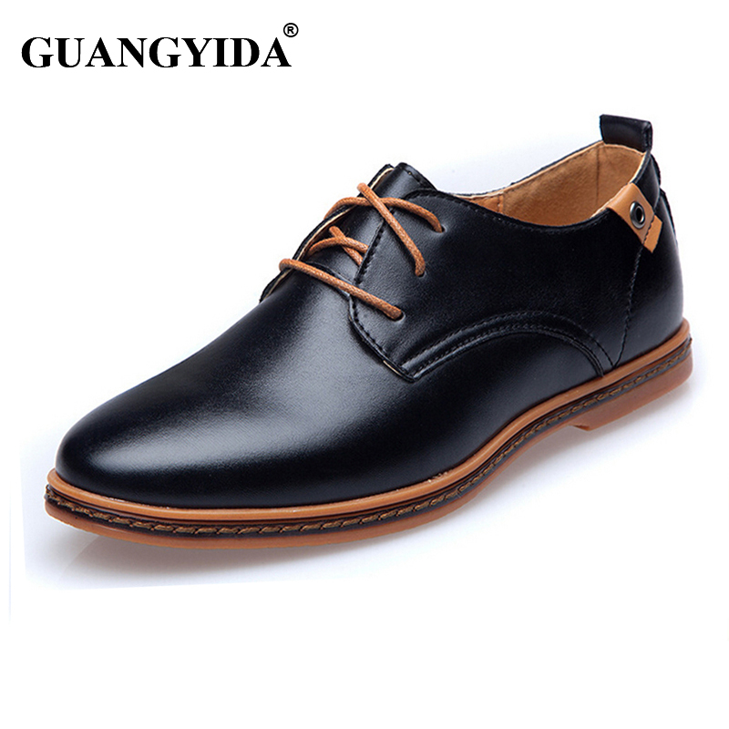 New 2017 Men Leather Shoes Casual Leather Lace-up Shoes Black Brown Flat Leather Loafers Oxford shoes Plus size 45,46,47<br><br>Aliexpress