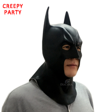 Batman Mask Adult Halloween Mask Realistic Full Face Latex Party Mask Caretas Movie Bruce Wayne Cosplay Props(China)