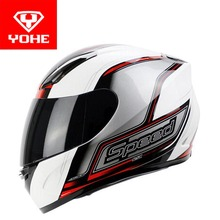 2017 Winter warm YOHE Full Face Motorcycle Helmet motocross Motorbike Helmets of ABS and PC Lens visor Motor Knight protection(China)