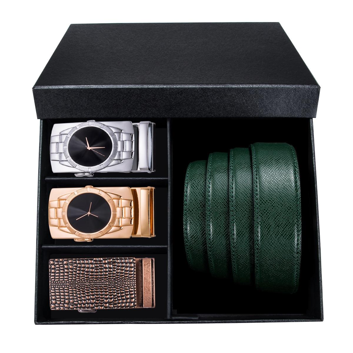 Barry.Wang Fashion Designers Men Belt 110-130cm Cowhide Leather Green Strap 3PCS Automatic Buckle Belt For Men Gift Box Set GB-4