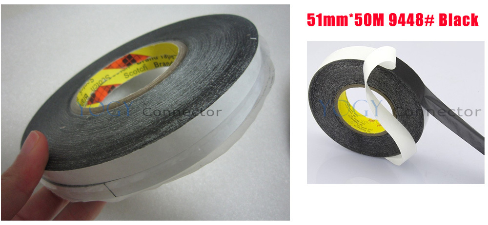 1x 51mm*50M 3M 9448 Black Two Sided Tape for Electrical Control Panel, Nameplate, Foam Bonding Jointing<br>