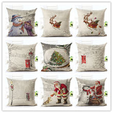 2016 Newest Home Decor Cushion Cover White Snow Christmas Home Decorative Floral Printed Throw Pillowcase Cojines Almofada(China)