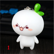 2017 Kawaii Expression Bun Cute Grass Corps Doll Key Chain Keychain Bag Phone Car Charm Strap(China)