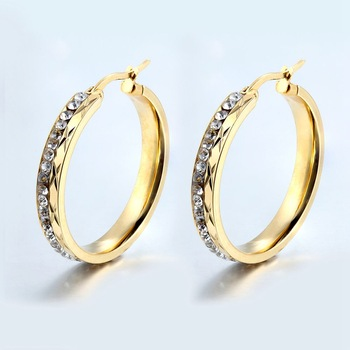 2017 New Fashion Elegant Round pattern Crystal High Quality Gold Hoop Earrings for Women Hoop Earrings Women Fashion Jewelry