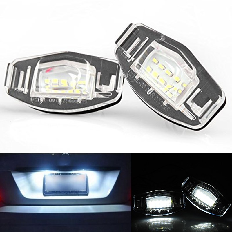 2x Error Free 18 White Car styling Led Rear License Plate light  for Honda Civic Accord Odyssey Acura TSX MDX Auto Lamp<br><br>Aliexpress