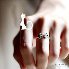 925 Sterling-Silver-Jewelry Cute Cat Claw Ring Simple Clavicle Rings for Women Sterling Silver Molian High Quality Jewelry