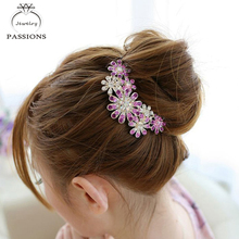New Fashion Barrettes Hairpin For Women Purple Rhinestone Flower Bouquet Hair Comb Wedding Hair Headwear Decorative Jewelry(China)