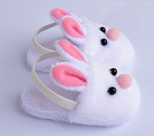 New Arrival Cute Withe Felt Slippers For 17inch Zapf Baby Reborn Dolls Accessories(China)