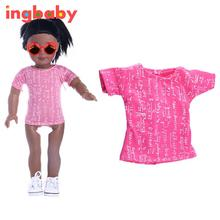 Pink T-shirt 18 Inch American Girl Doll Clothes Children DIY Dress Up Game Barbie Clothes Doll Clothes 2017 New ingbaby WJ1126