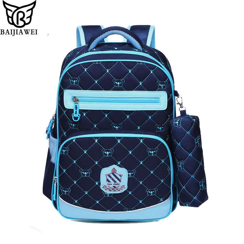 BAIJIAWEI Orthopedic Children Backpack Schoolbags Shoulder Bags Mochila Knapsack For Teenagers Kids Boys Girls School Bags<br>