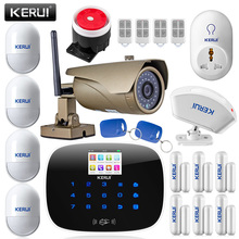 KERUI G19 APP remote control 433MHz TFT color Screen UI menu smart GSM Alarm System+outdoor wifi ip camera call sms Alarm system