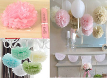10cm=4 inch Tissue Paper Flowers pom poms balls lanterns Party Decor For Wedding Decoration multi color option Wholesale retail(China)