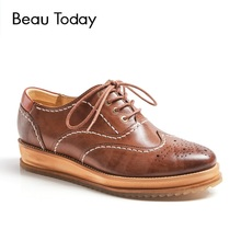 BeauToday Genuine Leather Oxford Shoes Women New Brogue Style Spring Autumn Round Toe Waxing Sheepskin Ladies Wedge Flats 21038