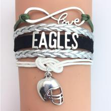 (10 Pieces/Lot) Infinity Love Philadelphia Eagles Football Team Bracelet Midnight Green Silver Black Charcoal White Custom(China)
