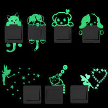 Kids Sticker Decal Decoration Luminous-Switch Moon-Star Glow-In-The-Dark Cartoon Cat-Fairy