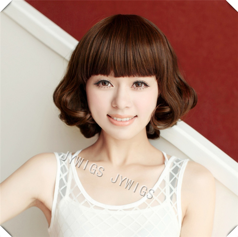 High Quality Sexy Cut Fringe Lady Middle Aged Women Synthetic Fashion Style Short Heat Resistant Hair Full Wig<br><br>Aliexpress