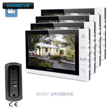 "HOMSECUR 9"" Video Door Phone Intercom System+White Monitor for House/Flat 1C4M(China)"
